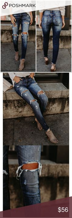Dark Distressed Ripped Holes Frayed Skinny Jeans Ripped and faded skinny denim jeans featuring a single button fastening, zip fly, two front pockets, a standard belt loop, and two rear pockets. 8.5 RISE / 29.5 INSEAM 98% Cotton & 2% Spandex Jeans Skinny