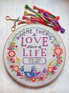 Love + Life modern cross stitch wedding pattern by SatsumaStreet on Etsy. #cross_stitch #patterns