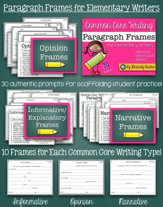 Common Core Writing Paragraph Frames for Elementary Writers.  30 authentic prompts in frames to scaffold writing practice and organizing the perfect paragraph!