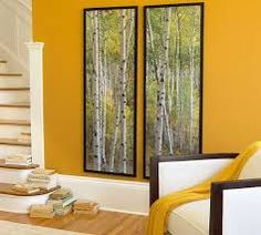 Framed Birch Tree Mural from Pottery Barn Yellow Accent Walls, Yellow Accents, Grey Yellow, Birch Tree Mural, Birch Trees, Mustard Yellow Walls, Kitchen Paint Colors, Accent Wall Bedroom, My Home Design