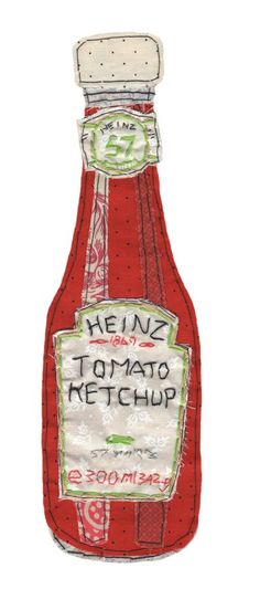 Heinz tomato ketchup http://embroidered...so cute to put in frame and hang in a kitchen or restaurant