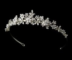 Lovely Floral Garden Silver Plated White Pearl Tiara - Affordable Elegance Bridal -