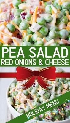 Pea Salad Recipe with Red Onions and Cheese {Video} | Salty Side Dish