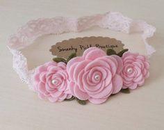 Fieltro flor diadema - bebé diadema rosa rosa - Bebé flor diadema - recién nacido - Niño - niñas rosa Garland diadema - encaje diadema