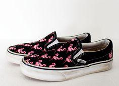 Vans Shoes Flamingos Womens 6 Mens 4.5 Black Pink Canvas Off the Wall Slip On #Vans #Skateboarding
