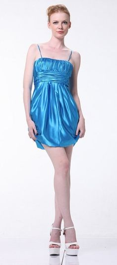 Turquoise Cocktail Party Dress Simple Strapless Shirred Short Dress $45.99