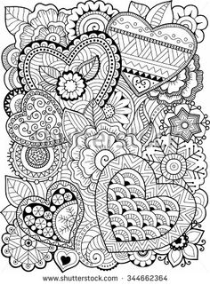 Vector coloring book for adult. Hearts and flowers