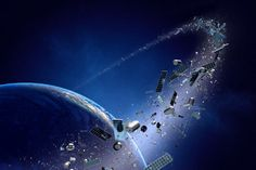 Garbage in the Earth's orbit began to accumulate since the launch of the very first artificial satellites. Today around our planet is already spinning no less than 13 thousand objects, which can be attributed to the category of space junk. Earth And Space, Space Debris, Recycling Station, Space Junk, Space Space, News Space, Earth Poster, The Sky Is Falling, Geography