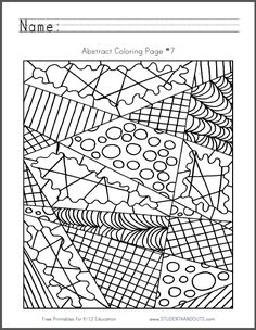 Abstract Coloring Page #7 | Free to print (PDF file).