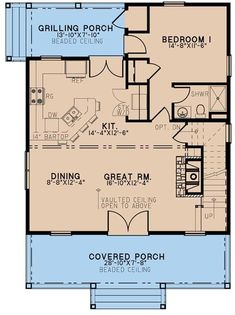 The endearing 1.5-story home's floor plan has 1425 square feet of fully conditioned living space with features like • A two-story vaulted ceiling for the dining area and Great Room • Wood-burning fireplace in the Great Room • Grilling porch • Lots of storage #houseplan #GreatRoom Plumbing Drawing, Concrete Footings, Double Entry Doors, Wall Exterior, Monster House Plans, Rustic Bedding, Country Style House Plans, Building Department, Barn House Plans