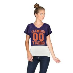 Clemson Tigers chicka-d Women's Mesh Field Jersey Crop Top - Purple