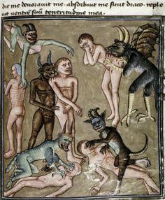 Bodleian Library, (Demonios morder y arañar a los Condenados). Libro Vine nuestro Señor. Francia, (1450-1470)