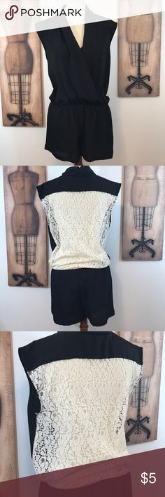 Black Romper with cream lace backing Black Romper with cream lace backing Collective Concepts Large Collective Concepts Dresses