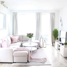 Cute pink living room feel with plants and big natural window light! Decorating Your Home, Interior Decorating, Interior Design, Living Room Decor, Living Spaces, Sweet Home, True Homes, Home Decor Shops, New Homes