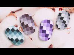【Watch nail Teach Me-840th phase】Fashionable Geometric Gradient Stripes【窝趣美甲你求窝教 第840期】时尚几何渐变格纹 - YouTube