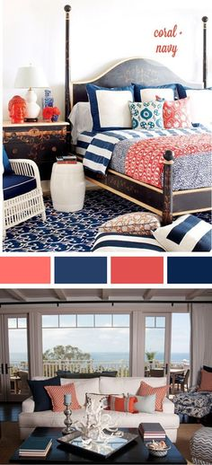 Navy And Coral Bedroom Navy And Coral Palette This Is For You home decor ideas bedroom - Diy Decorating Mt Design, House Design, Coral Design, Home Bedroom, Bedroom Decor, Bedroom Ideas, Navy Bedrooms, Master Bedrooms, Coastal Bedrooms