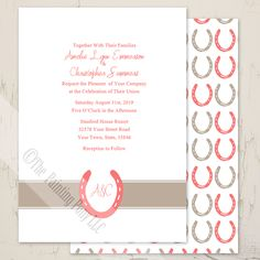 Lucky In Love Horse Shoes Wedding Invitation (10 pk) - The Painting Pony - perfect for the country equestrian themed wedding, bridal shower, or other event. Matching rsvp, address labels and more in pretty coral and beige or get it in your own custom colors on request.