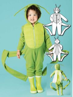 This kid's grasshopper costume features wings, extra long legs and large eyes similar to the actual bug. The jumpsuit is made entirely out of fleece, which is great for colder climates!