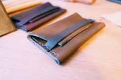 Leather card holder hand made to order. Made of by BrycesWallets