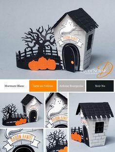 "Djudi'Scrap Stampin'Up! - Décoration Petite Maison Hantée Halloween ""Thinlits Doux Foyer / Home Sweet Home Thinlits Dies"""