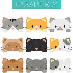 Best 12 Peeking Cats, Peeping Kitties, Cute Kittens Digital Clip Art For Planner Stickers, Scrapbooking, Jou Planner Stickers, Printable Stickers, Cute Stickers, Cute Kittens, Clip Art, Cat Birthday, Cat Drawing, Dog Mom, Scrapbooking