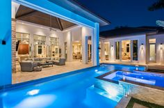 Contemporary Swimming Pool with Hammerton Studio Outdoor Short Round Wall Sconce By Levi Wilson, exterior stone floors Backyard House, Backyard Pool Designs, Backyard Ideas, Patio Design, Swimming Pool House, Swimming Pool Designs, Exterior Tiles, Exterior Design, Luxury Pools