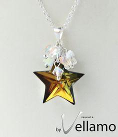 Swarovski star and butterfly pendant