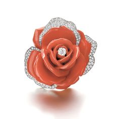 SOLD - A French Coral & Diamond Rose Brooch by Cartier