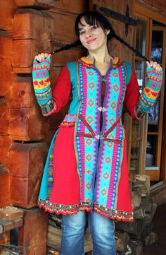 Ethno folk  fantasy jacket sweater coat in mexican colors