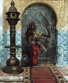 Nubian Guard By Rudolph Ernst - Austrian , 1854 - 1932 Oil on panel , 64.7cm x 53.3 cm