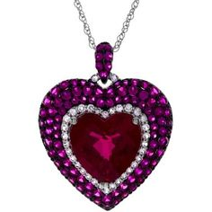 Lab-Created Ruby & White Sapphire Heart Pendant Sterling Silver