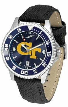 Georgia Tech GT Men's Leather Wristwatch by SunTime. $79.95. Officially Licensed Georgia Tech Yellow Jackets Men's Leather Wristwatch. Men. Adjustable Band. AnoChrome Dial Enhances Team Logo And Overall Look. Poly/Leather Band. College leather wristwatch with AnoChrome face. Georgia Tech Yellow Jackets wrist watch has functional rotating bezel color-coordinated with team logo. A durable, long-lasting combination nylon/leather strap, together with a date calendar, round out this ...