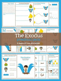 Free Preschool Pack- Printable Exodus activities- features practice with sequencing, counting, pre-writing tracing, cutting, and more- free Bible printables