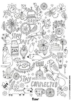 free printable colouring in page flow magazine Food Coloring Pages, House Colouring Pages, Free Adult Coloring Pages, Free Coloring Sheets, Animal Coloring Pages, Printable Coloring Pages, Coloring Pages For Kids, Coloring Books, Gestion Administration