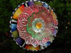 Garden Art Glass Plate Flower Re Purposed by TheEverlastingGarden