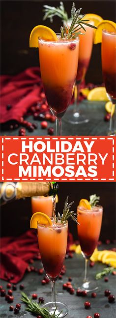 Holiday Cranberry Mimosas – Host The Toast Holiday Cranbe… Holiday Cranberry Mimosas – Host The Toast Holiday Cranberry Mimosas. This cocktail is perfect for Thanksgiving while you wait for dinner, or for Christmas morning! Thanksgiving Drinks, Christmas Cocktails, Christmas Brunch, Christmas Breakfast, Holiday Drinks, Holiday Recipes, Holiday Parties, Christmas Goodies, Christmas Drinks Alcohol