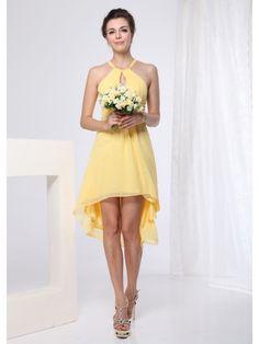 A-Line Halter High low length Chiffon Short Bridesmaid DressSKU: SAL00240 Weddings From New Zealand