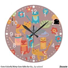 Cute Colourful Kitty Cats Gifts for Cat Lovers Wall Clocks. #cats #catlover #gifts #clocks #housewarming #presents #birthday #funny #cartoon #kitty #kittens #purple