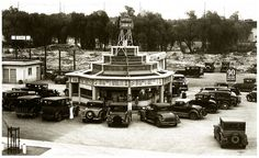 """Carpenters Drive In, Sunset and Vine - 1930's. """"90 Cents Brake Adjustment"""""""
