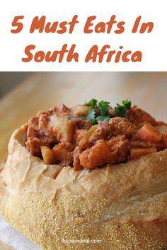 5 Must Eats In South Africa!  From bunny chow to biltong.  Read the whole story here --> http://thetravelbite.com/travel_and_food_blog/top-5-things-to-taste-in-south-africa/