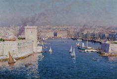 """Jean Baptiste Olive, """"Vue sur le Vieux Port de Marseille depuis le Pharo"""""""