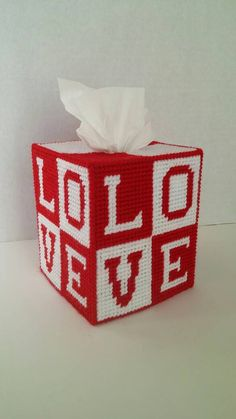 Items similar to Valentine Love Tissue Box Cover on Etsy Plastic Canvas Tissue Boxes, Plastic Canvas Crafts, Plastic Canvas Patterns, Love Valentines, Valentine Crafts, Holiday Crafts, Christmas Boxes Decoration, Easy Crafts, Diy And Crafts