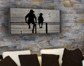 Reclaimed Barn Wood - Rustic Wall Art - A Cowboy and his Son