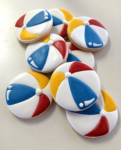 Beach ball cookies~                      byJune bug and moo, red, blue, yellow