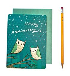 Owl Anniversary Card (Happy Anniversary Card)