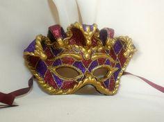 Jester King Mask Paper Mache Venetian Mardi Gras Masquerade  Carnival Mask