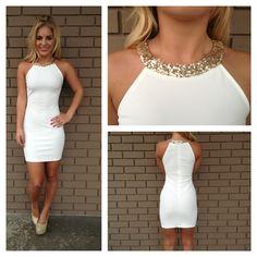 Gold Sequin Neckline Mini Dress- White