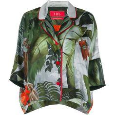 F.R.S For Restless Sleepers Gea pyjama shirt ($608) ❤ liked on Polyvore featuring intimates, sleepwear, pajamas, green, silk pjs, green pajamas, silk pyjamas, silk pajamas and silk sleepwear