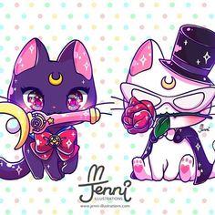Aw Luna and Artemis as Sailor Moon and Tuxedo Mask Sailor Moon Tattoos, Sailor Moons, Arte Sailor Moon, Sailor Moon Fan Art, Tattoo Moon, Cute Kawaii Drawings, Cute Animal Drawings, Kawaii Art, Totoro