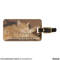 Shop Personalized pet's photo luggage tag created by SeeingNature. Personalize it with photos & text or purchase as is! Personalized Luggage Tags, Custom Luggage Tags, Photo Bag, Standard Business Card Size, Travel Gifts, Travel Bag, Cat Sleeping, Cute Cats, Cats And Kittens